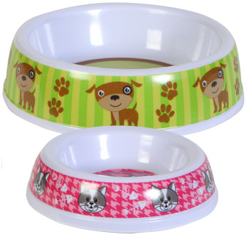 Dog Paw and Cat with Fish melamine pet bowl.