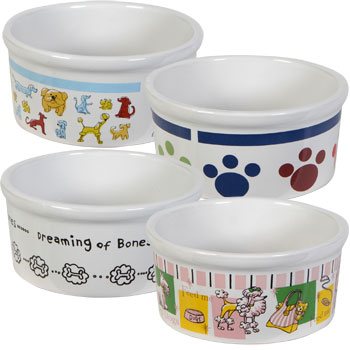 Large and small stoneware pet bowls.
