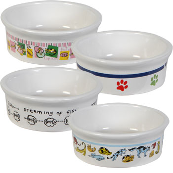 Stoneware pet bowls for cats and dogs.