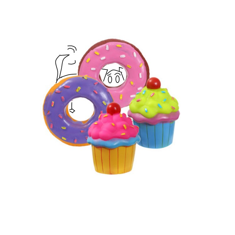 A delicious and cute cupcake or donut toy for your dog.