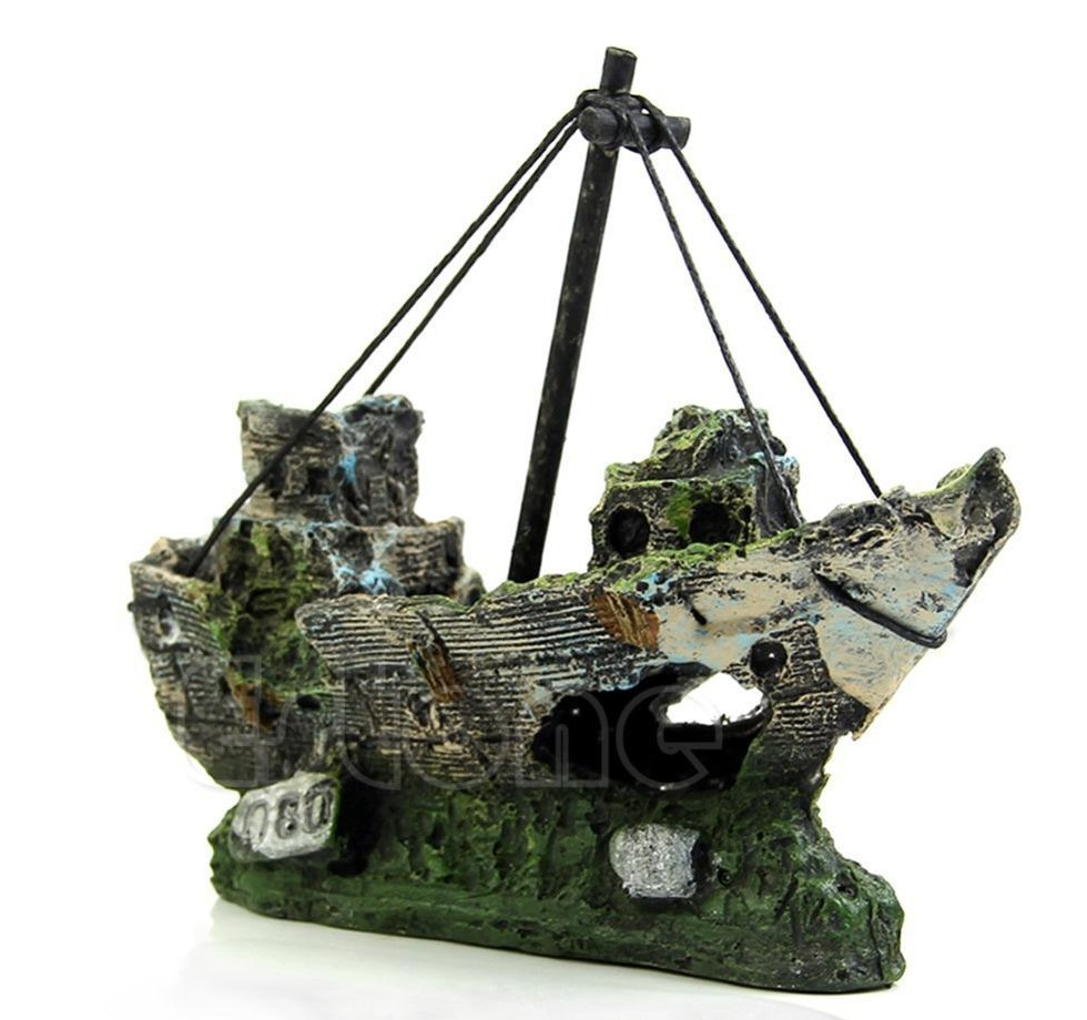 Sunken ship wreck scene fish tank decoration stickpets for Fish tank pirate ship